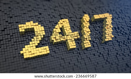 Word '24/7' of the yellow square pixels on a black matrix background. Working around the clock concept. - stock photo