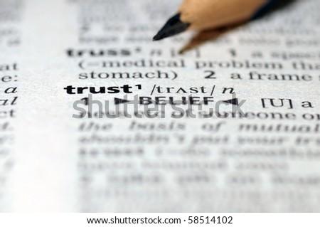 Word of trust. - stock photo