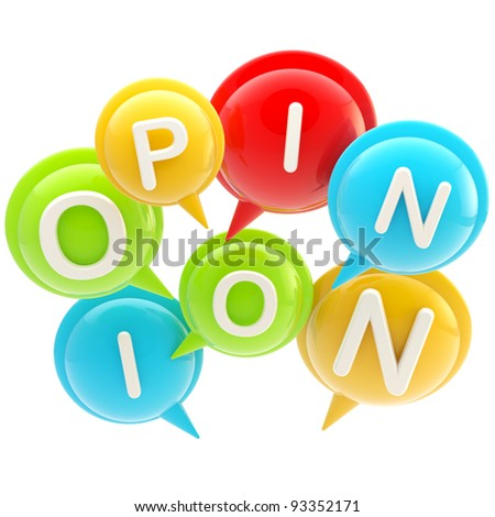 """Word """"opinion"""" made of colorful glossy text bubbles isolated - stock photo"""