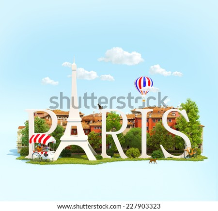 Word Paris on grass in the park with buildings of European city. Unusual traveling concept - stock photo
