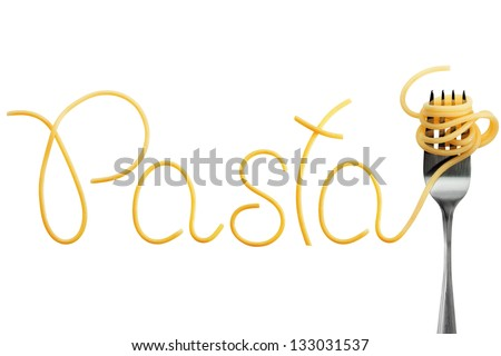 Word pasta made of cooked spaghetti with fork - stock photo