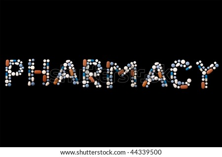 "Word ""pharmacy"" written with colorful pills on black background (separate letters also available: search with keywords ""pill"" and ""alphabet"") - stock photo"