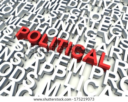 Word Political in red, salient among other related keywords concept in white. 3d render illustration. - stock photo