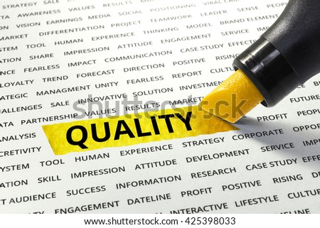 Word Quality highlighted with marker on paper of other related words.business success concept. - stock photo