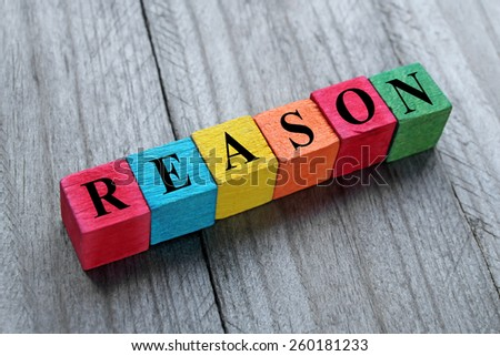 word reason on colorful wooden cubes - stock photo