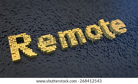 Word 'Remote' of the yellow square pixels on a black matrix background - stock photo