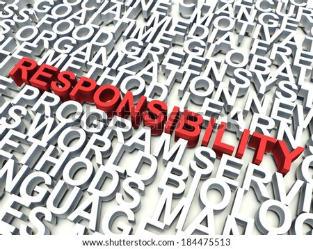 Word Responsibility in red, salient among other related keywords concept in white. 3d render illustration. - stock photo