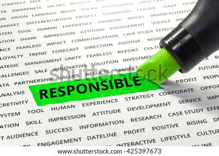 Word Responsible highlighted with marker on paper of other related words.business success concept. - stock photo