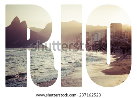 Word RIO. View of Ipanema Beach in the evening, Brazil  - stock photo