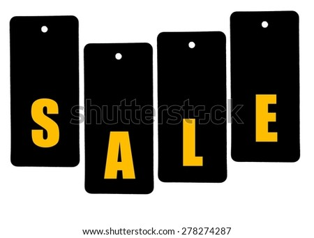 Word SALE formed of price tags  isolated on white background with copy space available - stock photo