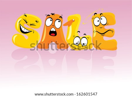 Word SALE in comic style, letters with Cartoon emotions faces. Raster version - stock photo