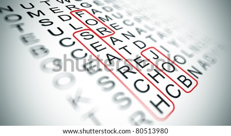 word search game and the words search, for and job circled - stock photo