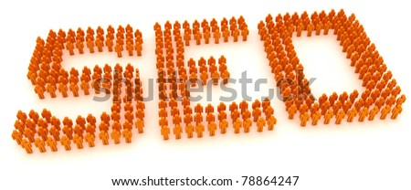 Word SEO formed by crowd of people - stock photo