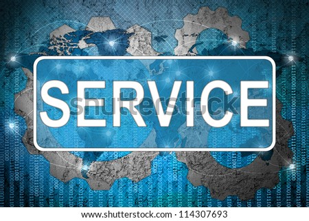 Word Service on network background - stock photo
