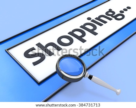 Word Shopping written in search bar on virtual screen in the design of the information associated with the e-commerce - stock photo