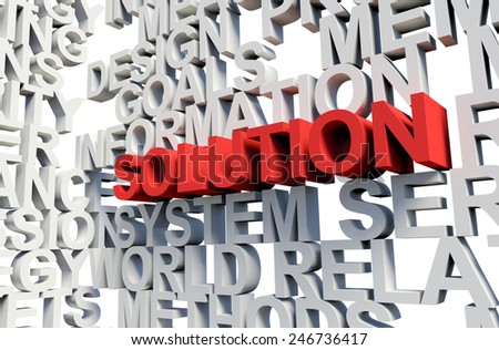 Word Solution in red, salient among other related keywords concept in white. 3d render illustration. - stock photo