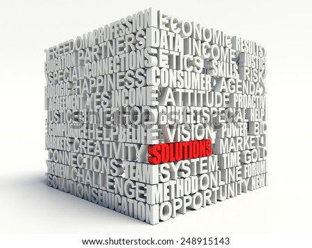 Word SOLUTIONS in red, salient among other related keywords concept in white. 3d render illustration. - stock photo