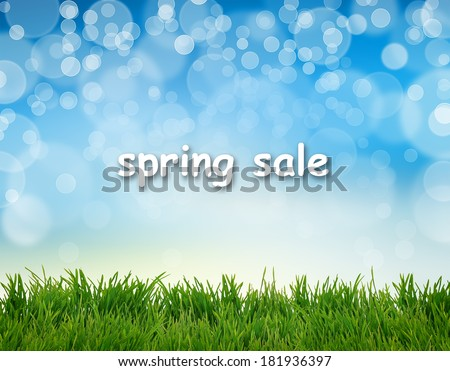 Word Spring Sale on abstract natural background - stock photo
