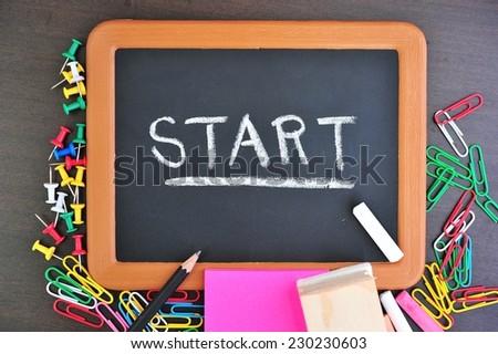 "Word ""Star""t on blackboard - stock photo"