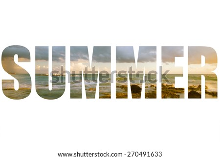 Word SUMMER over Seascape  with low clouds above the stony shore of the sea. - stock photo