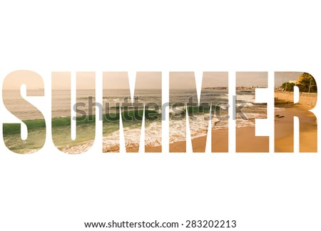 Word SUMMER over The sandy shores of the Atlantic Ocean. Portugal. Toned. - stock photo