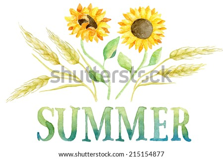 Word SUMMER painted with green and blue watercolor with five ears of wheat and two sunflowers. Real watercolor painting.  - stock photo
