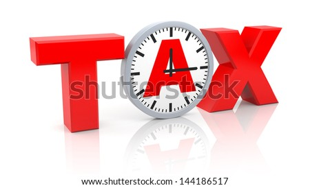 Word tax with watch - stock photo