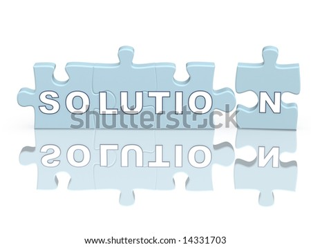 Word the solution on parts of a puzzle - stock photo