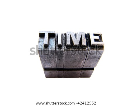 Word TIME written in metallic letters - stock photo