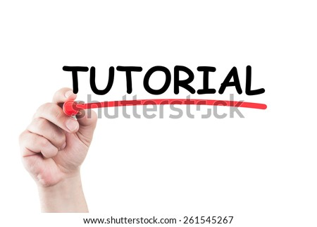 Word turorial written by hand using a marker and underline on transparent wipe board with white background and copy space - stock photo