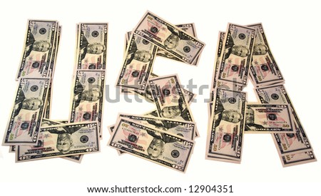 "Word ""USA"", made of dollars close up.