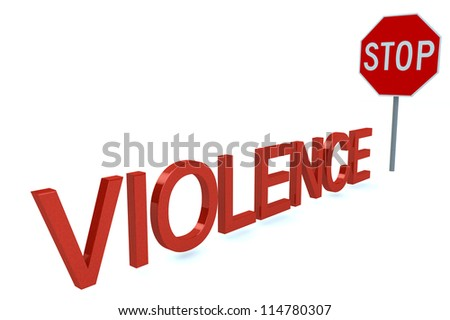 Word Violence Before Stop Sign isolated on a white background - stock photo