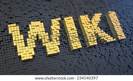 Word 'Wiki' of the yellow square pixels on a black matrix background. Knowledge base concept. - stock photo