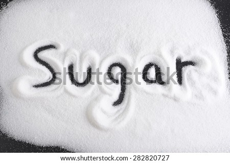 word written with finger on pile of sugar in diet , sweet overuse and healthy nutrition concept isolated on white grainy background - stock photo