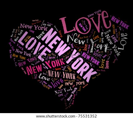Wordcloud: love heart of city New York - stock photo