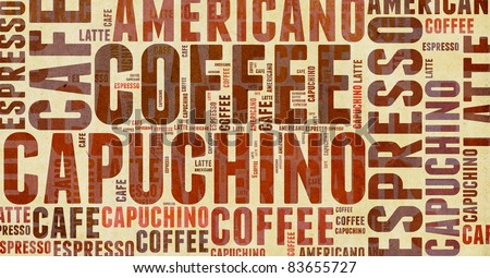 Wordcloud of coffee - stock photo