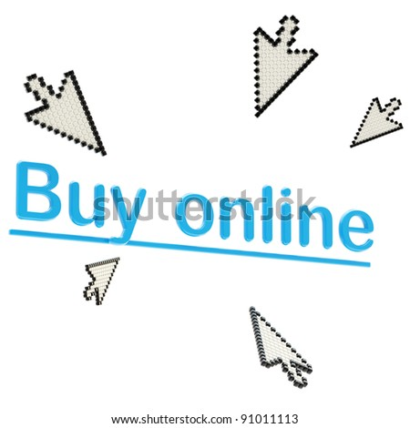 "Words ""buy online"" surrounded with glossy three-dimensional plastic cursors, isolated on white - stock photo"