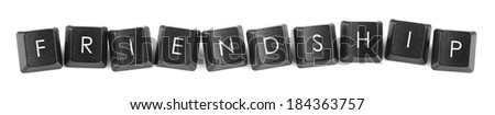 Words created with computer keyboard buttons on white background - stock photo