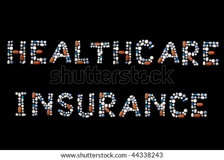 "Words ""health insurance"" written with colorful pills on black background (separate letters also available: search with keywords ""pill"" and ""alphabet"") - stock photo"