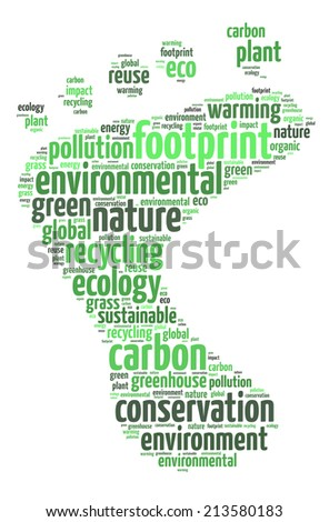 Words illustration of a green footprint over white background - stock photo