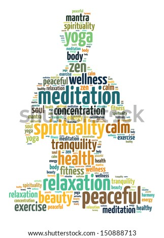 Words illustration of a person doing meditation in white background - stock photo
