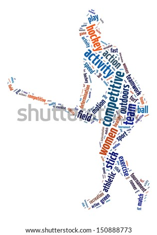 Words illustration of a woman playing field hockey over white background - stock photo