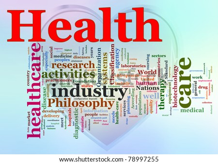 Words in a wordcloud of Healthcare. - stock photo