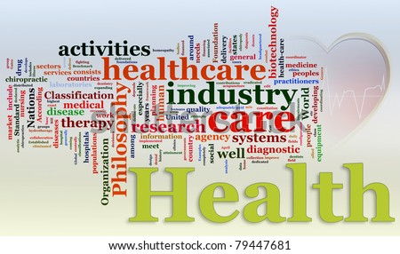 Words in a wordcloud of Healthcare - stock photo