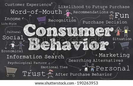 Words of Consumer Behavior with Chalk on Blackboard - stock photo