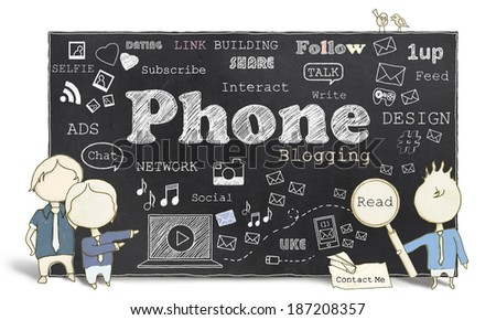 Words of Social Media and Phone Blogging on Blackboard - stock photo