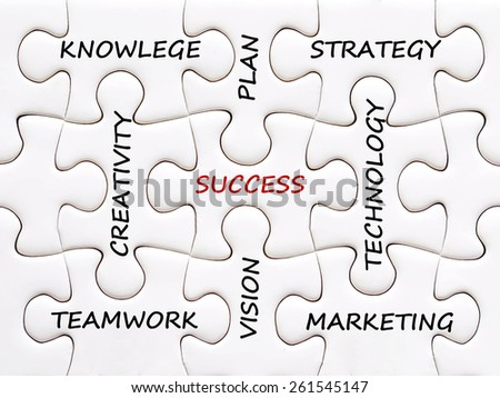 Words on jigsaw puzzle background, success in business concept - stock photo