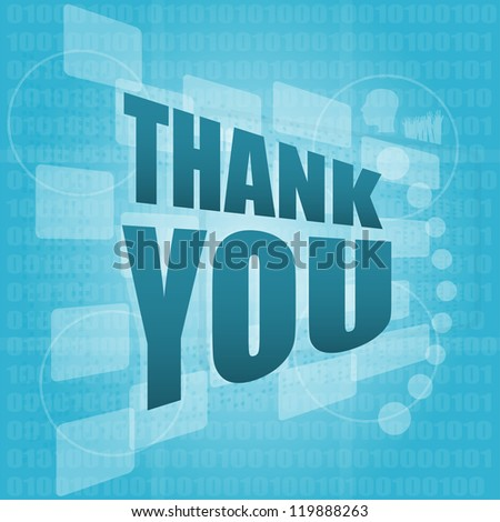 words thank you on digital screen, holiday concept, raster - stock photo