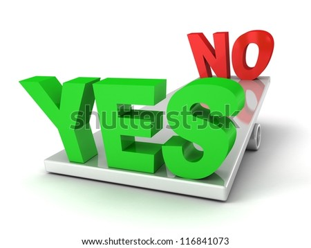 words Yes and No on the balance scales - stock photo