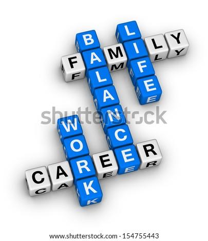 work and life balance crossword puzzle - stock photo